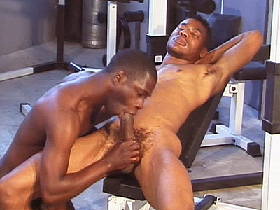 Naughty ebony gays Koby Bird and Ricky Parker working out their gag reflex by gulping dicks